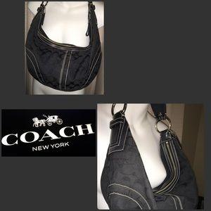 Black Coach Signature hobo shoulder bag